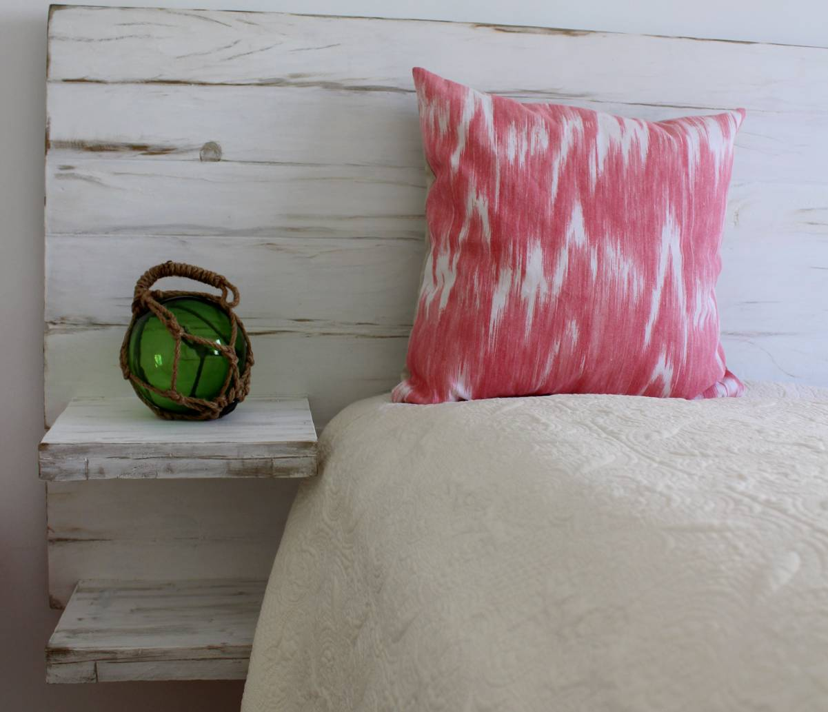 Headboard white with shelves